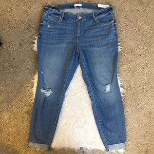 Loft plus modern skinny jeans distressed raw hem